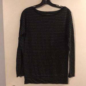 Ann Taylor LOFT black/gray striped long sleeve tee